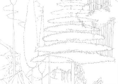 """Paradise lost #001"", blyant på papir, 30 x 30 cm, 2009 (solgt)"