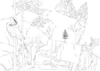 """Paradise lost #002"", blyant på papir, 30 x 30 cm, 2009"