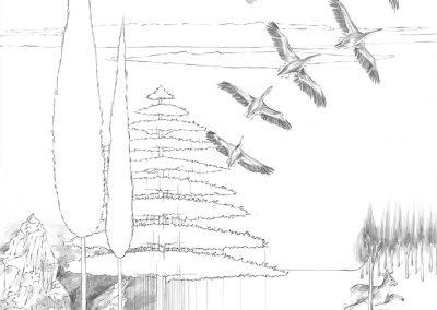 """Paradise lost #003"", blyant på papir, 30 x 30 cm, 2009"