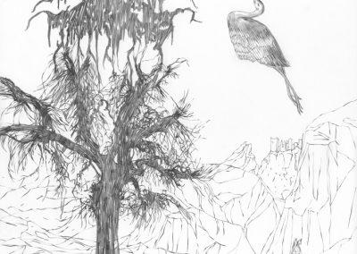 """Paradise lost #005"", blyant på papir, 30 x 30 cm, 2009, (solgt)"