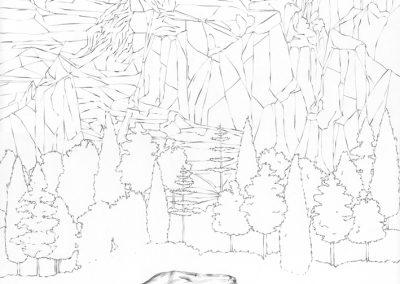 """Paradise lost #008"", blyant på papir, 30 x 30 cm, 2009 (solgt)"