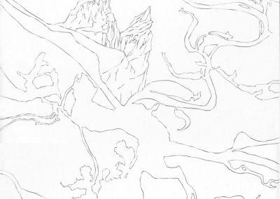 """Paradise lost #018"", blyant på papir, 30 x 30 cm, 2009"